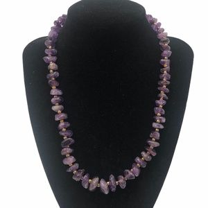 GRADUATED AMETHYST SMOOTH CHIP NECKLACE